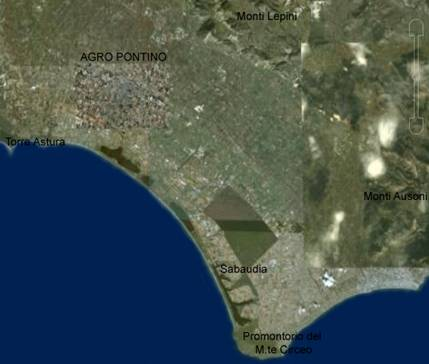 Figura 2 Area pontina (da Google Earth)